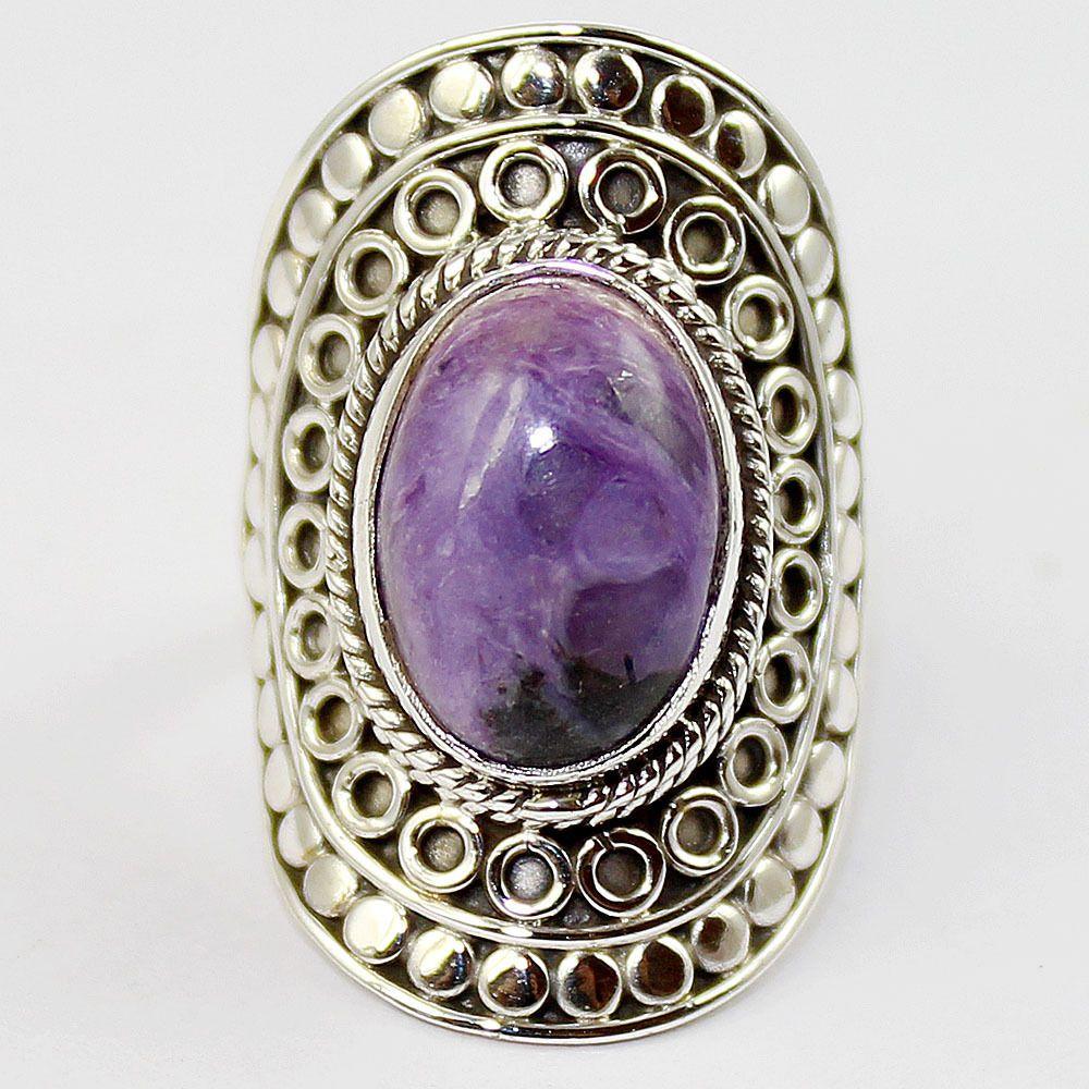 Charoite Sterling Silver Ring Jewelry Size- 6 SR-394 #Allisonsilverco