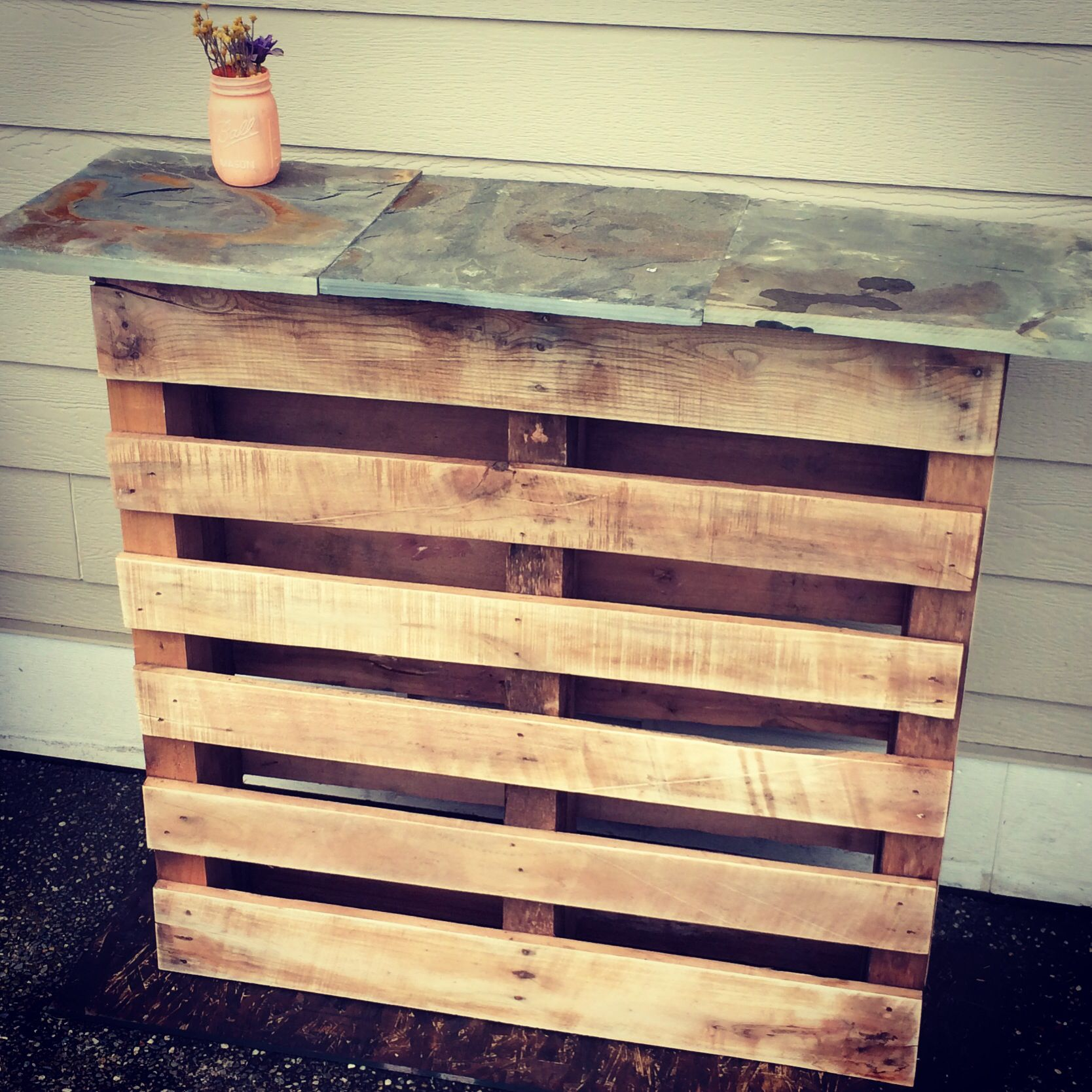 Outdoor wood pallet furniture 3 diy pallet projects with - 2 Same Pallets 3 Fancy Pavers Make A Nice Outdoor Bar I Used Painted