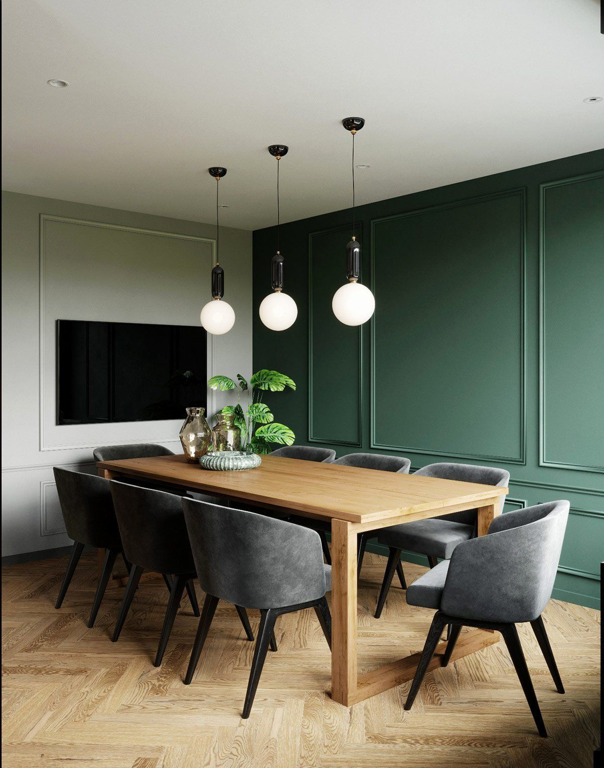 Emerald Accent Wall : emerald, accent, Dining, Accent, Emerald, Green, Classic, Boiserie, Room,, Traditional, Rooms,, Accents