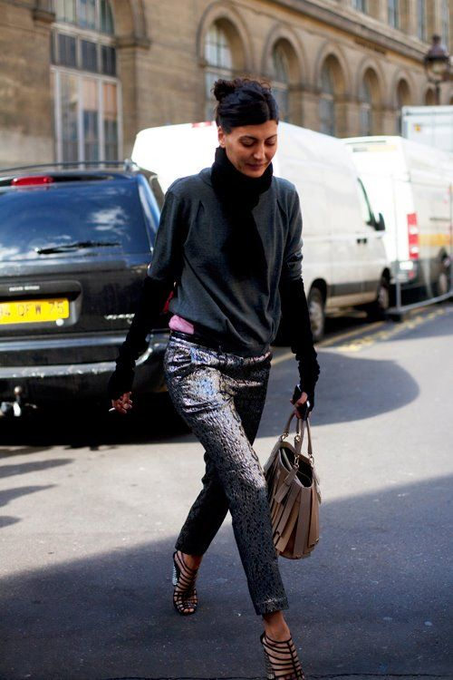 Outfit insp/shiny trousers, layered casual tops