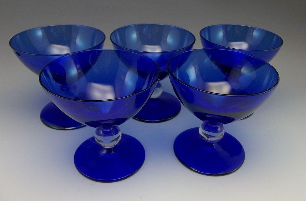 Lot 5 Vintage Bryce Aristricat Cobalt Blue Sherbets Champagne Goblets Crystal #Bryce