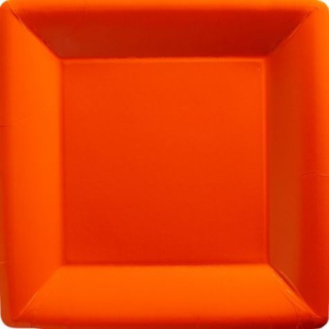 Orange Paper Square Dinner Plates - Party City
