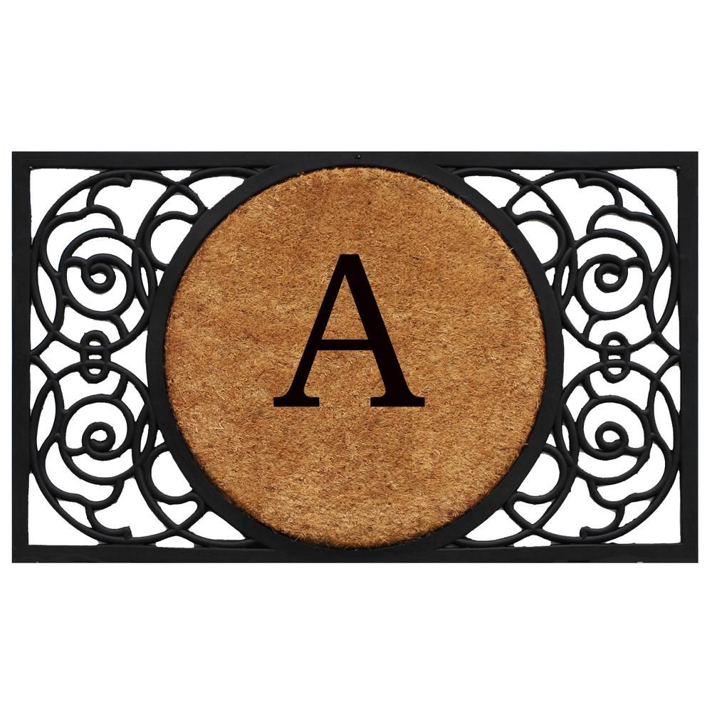 Home More Armada Circle 22 In X 36 In Monogram A Door Mat Multi Circle Monogram Monogram Lettering