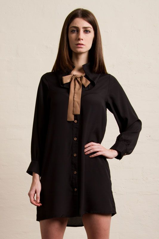Oversize collar shirt dress
