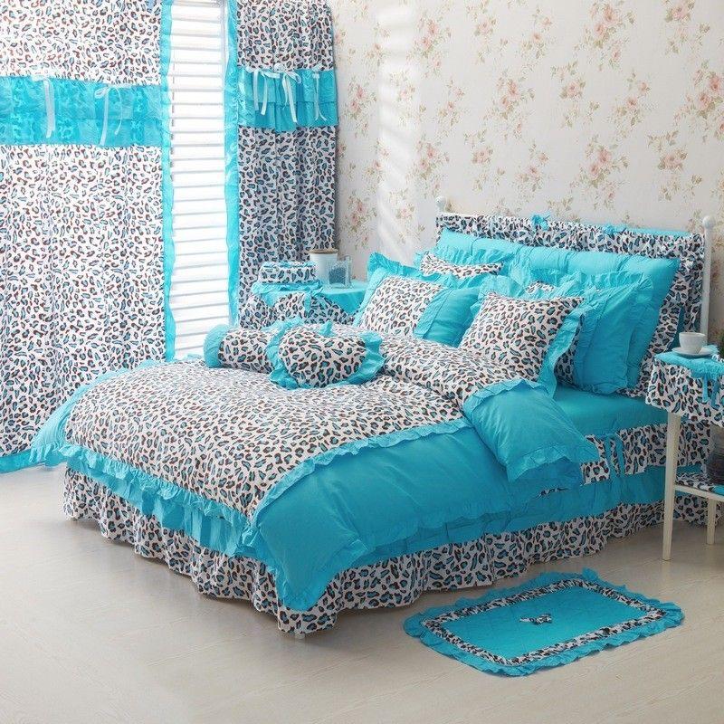 Blue Leopard Girls Ruffle Duvet Cover Bedding Sets Bed For Girls