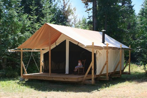Gotta love those old Prospector Tents. Hard to come by these days but as hardy as ever! & Tent and Breakfast!! A tent with a floor queen bed wood stove + ...
