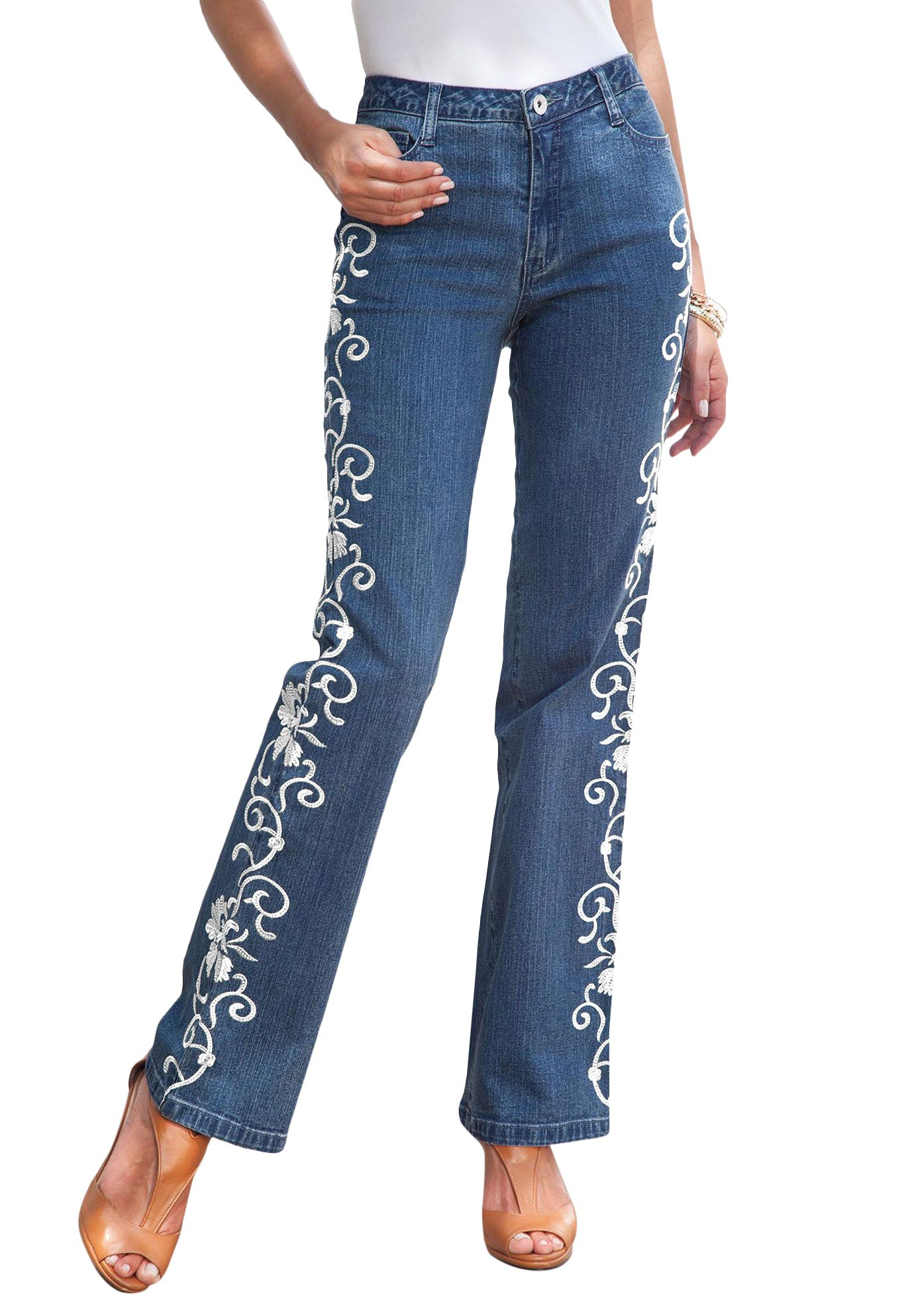 Embroidered Jeans by denim 24/7 | Plus Size | Roamans | Women's ...