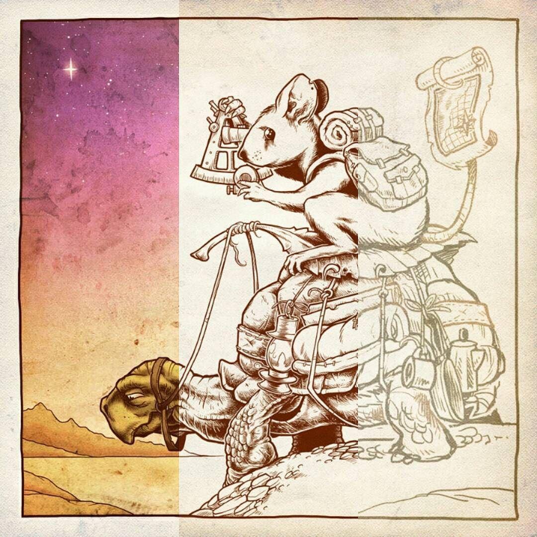 The Constant Traveler - Process #mouse #tortoise #art #fantasy #epicjourney