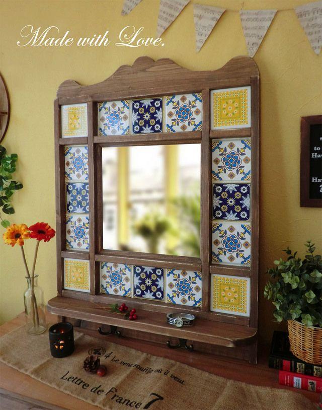 アンティーク風 タイル枠のウォールミラー 壁掛け鏡 공예