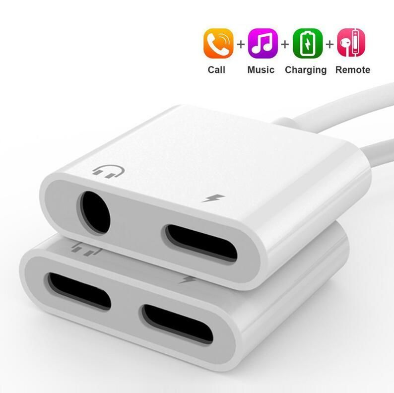 2 In 1 Audio Charge Adapter For Iphone 7 8 Plus X Xs Xr Max Dual Lighting 3 5mm Jack Splitter Charger Listeni Earphones Adapter Cable Splitter Iphone Earphones