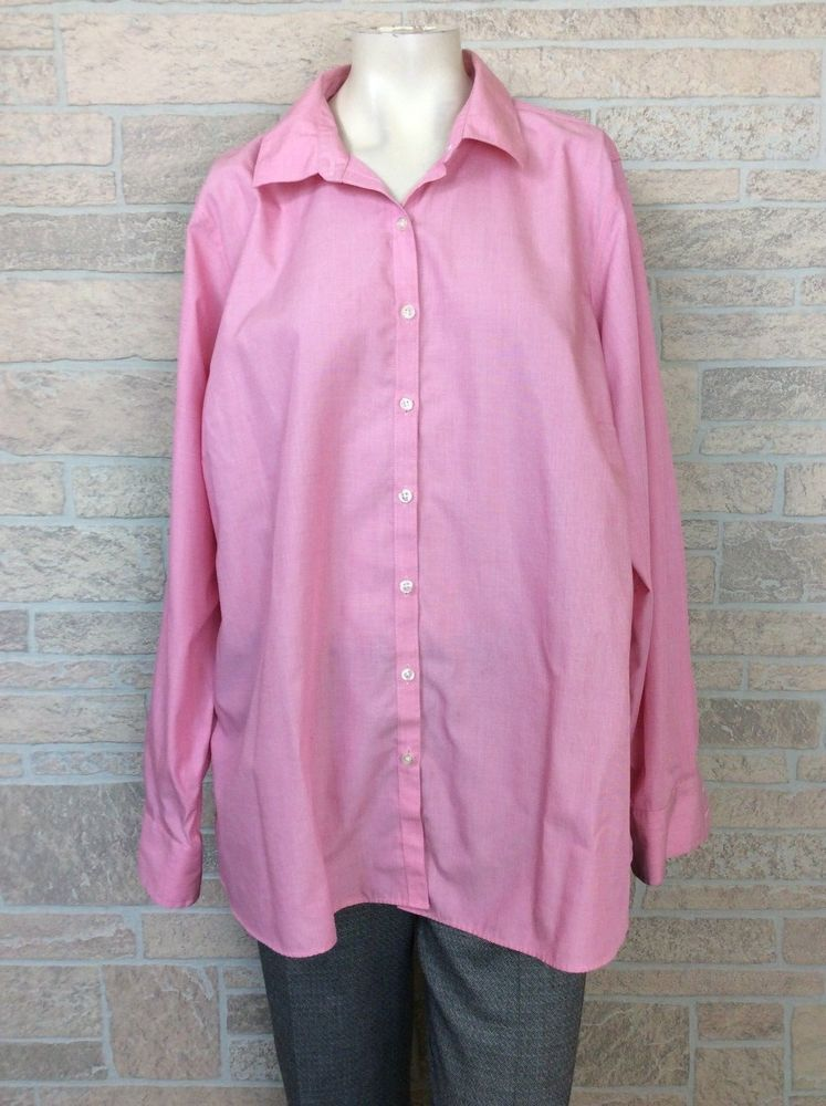 Lands End Pink No Iron Supima Cotton Blouse Top Shirt Plus Size 24w