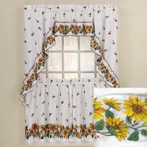 Sunflowers Kitchen Curtains Swag Set | Kitchen curtains ...