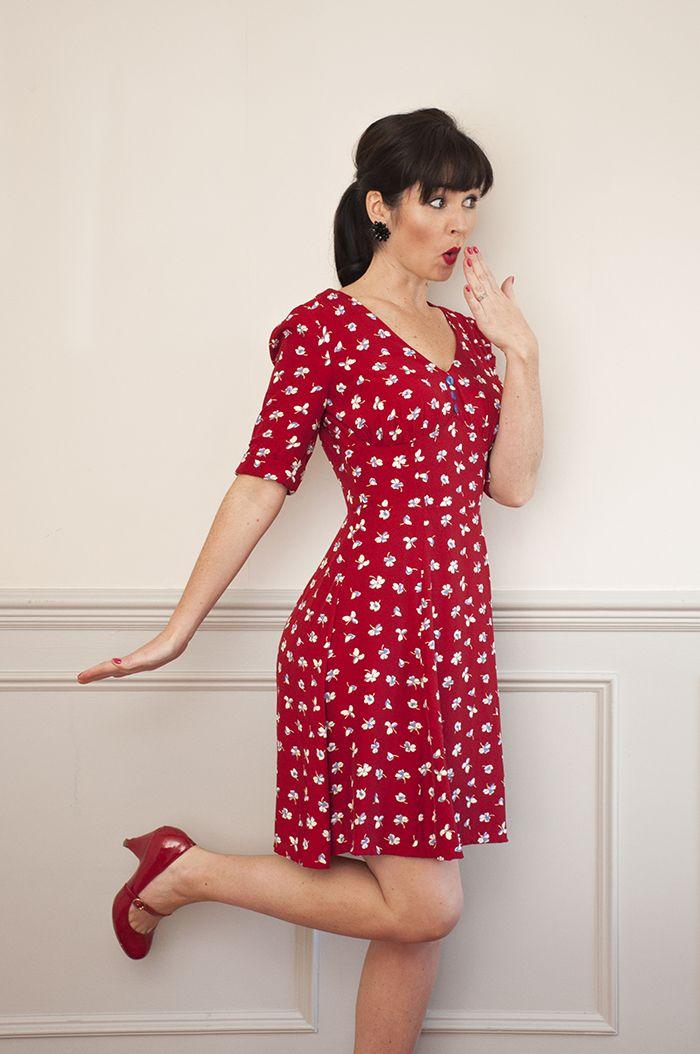 1940 S Tea Dress Sewing Pattern Sew Over It Online Fabric Shop Tea Dress Pattern 1940s Tea Dress Dress Patterns Uk
