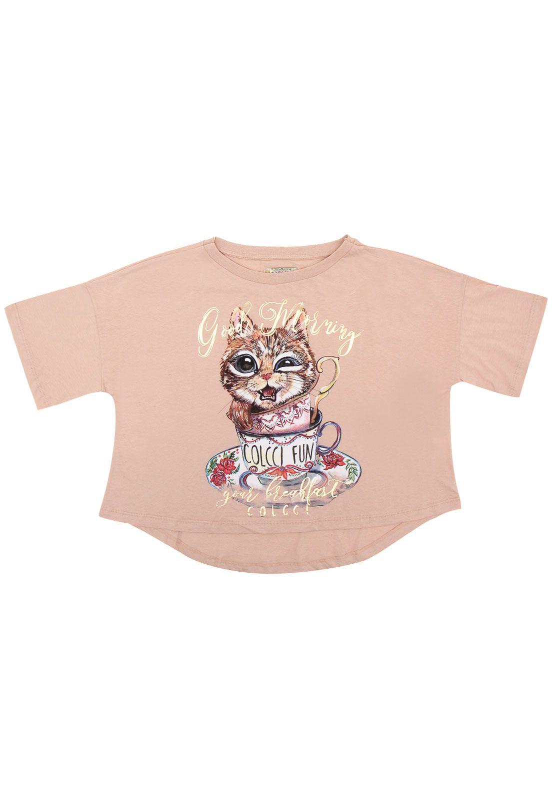 54d927c9f Camiseta Colcci Fun Manga Curta Menina Rosa   Products   Clothes ...