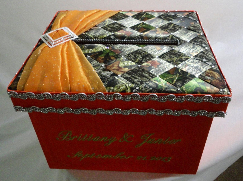 Camo Wedding Car & Money Box, Personalize Mossy Oak Wedding Card Box ...