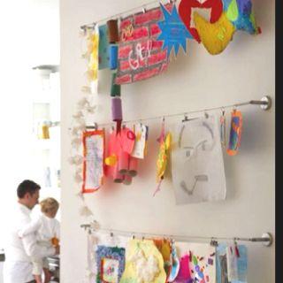 Kids artwork in hall.
