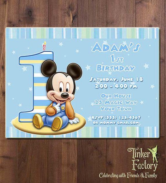 Baby Mickey First Birthday Party Invitation Printable Digital