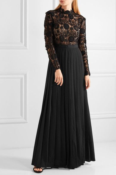 Self-Portrait - Mia Guipure Lace And Pleated Crepe Gown - Black ...