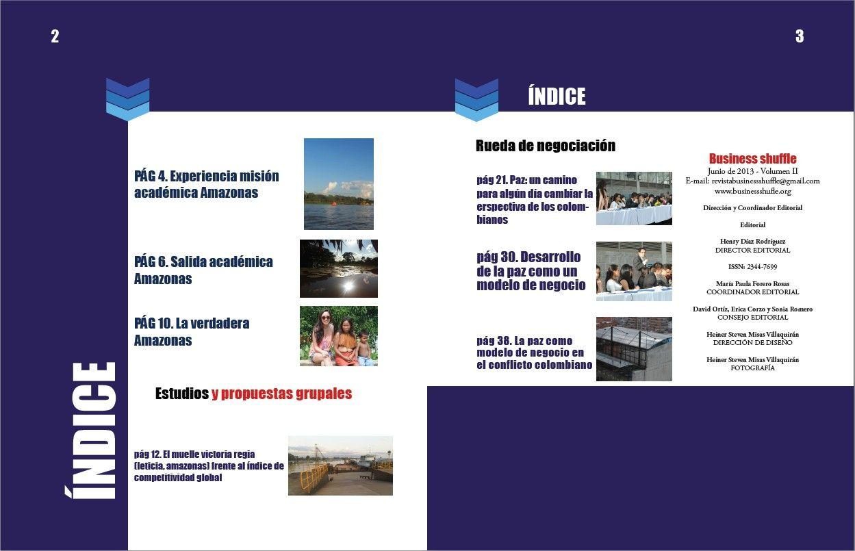 Índice de la Revista businessshuffle. volumen 2.
