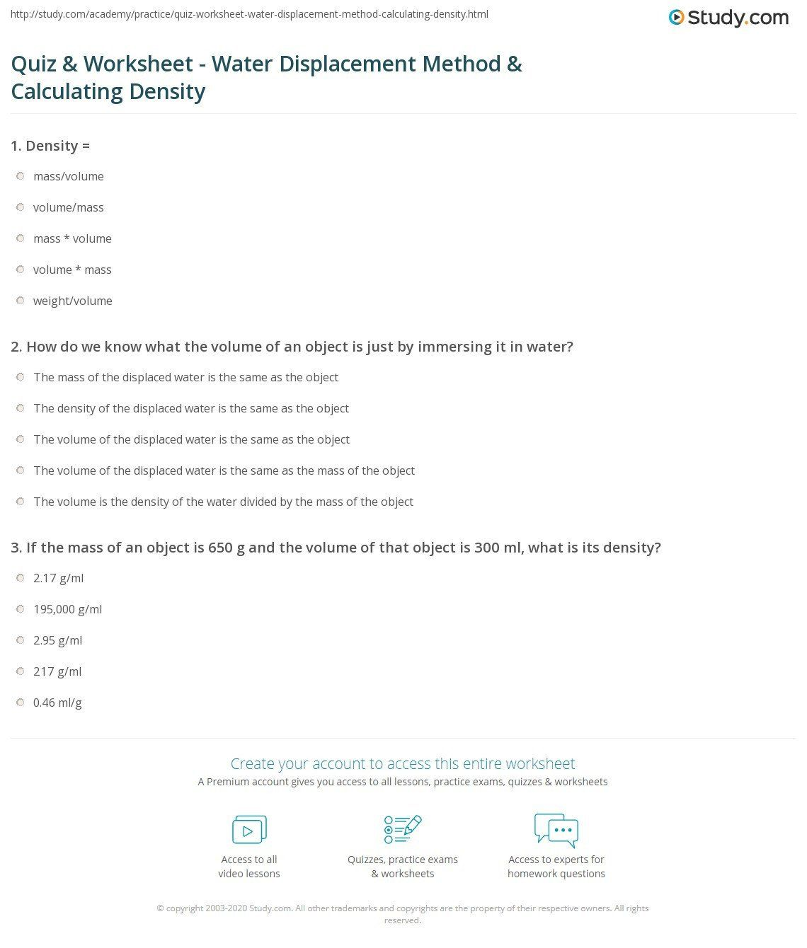 Density Calculations Worksheet Answers Density Worksheet Grade 4 In 2020 Worksheets Density Worksheet Answers