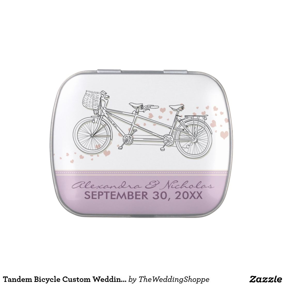 Tandem Bicycle Custom Wedding Favor Tins (lilac) Jelly Belly Tins ...