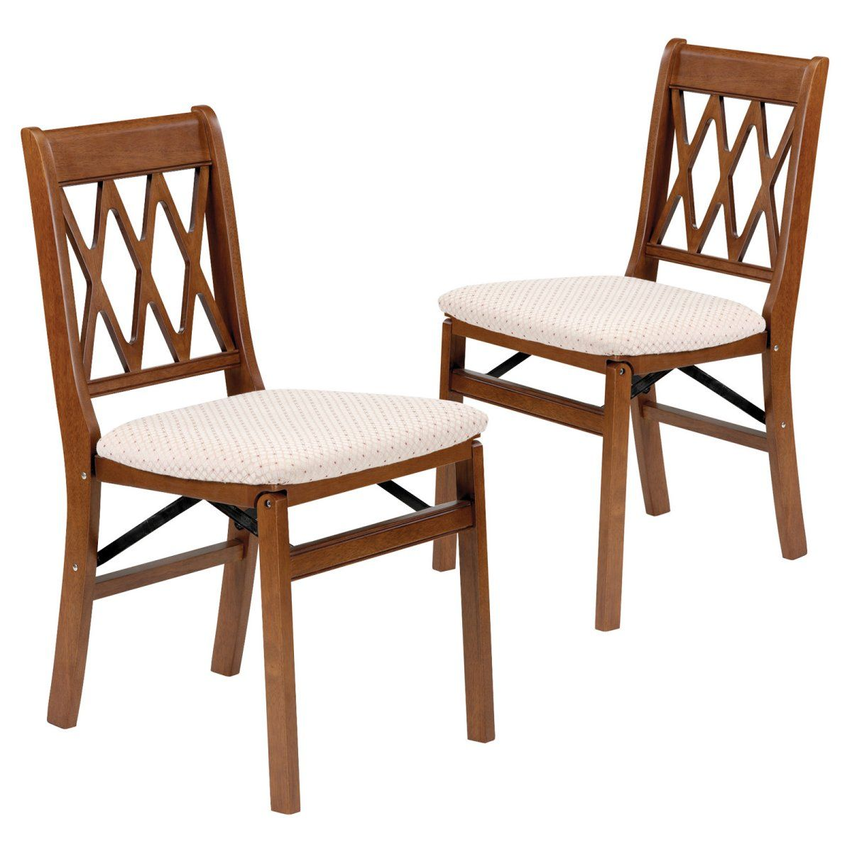 Stakmore Lattice Back Wood Folding Chairs With Upholstered