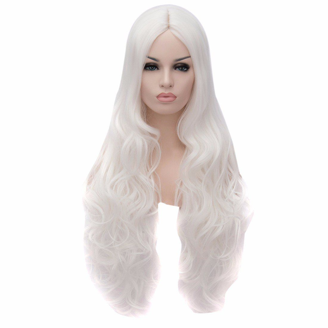 Terrifying Halloween Costumes   New Women Ladies Long Wavy Curly Pure White  Hair Full Wigs Wig Cosplay Party  halloweencostumes c7c8bdc6e6