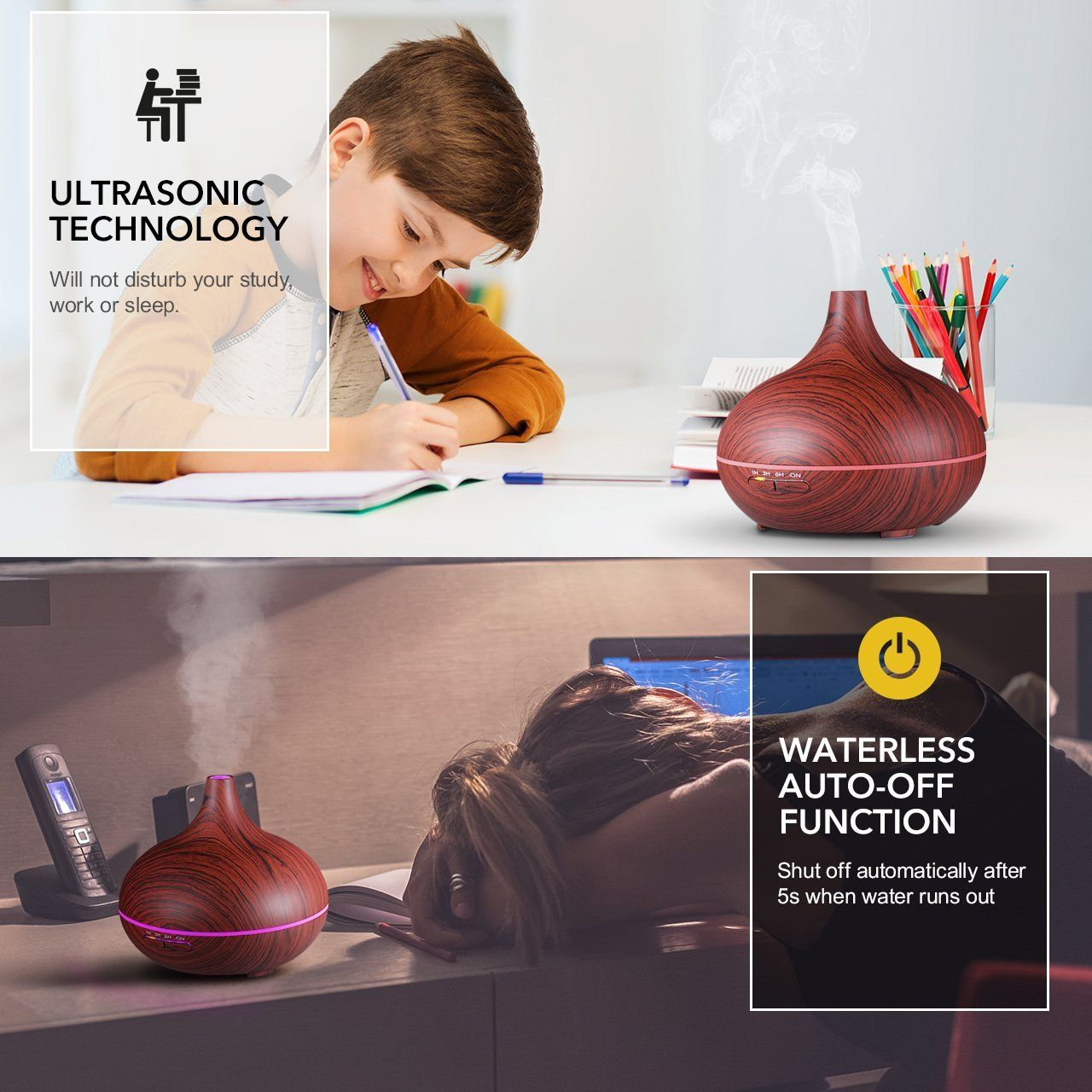 VicTsing 300ml Cool Mist Humidifier Ultrasonic Aroma Essential Oil Diffuser for Office Home Bedroom Living Room Study Yoga Spa Wood Grain
