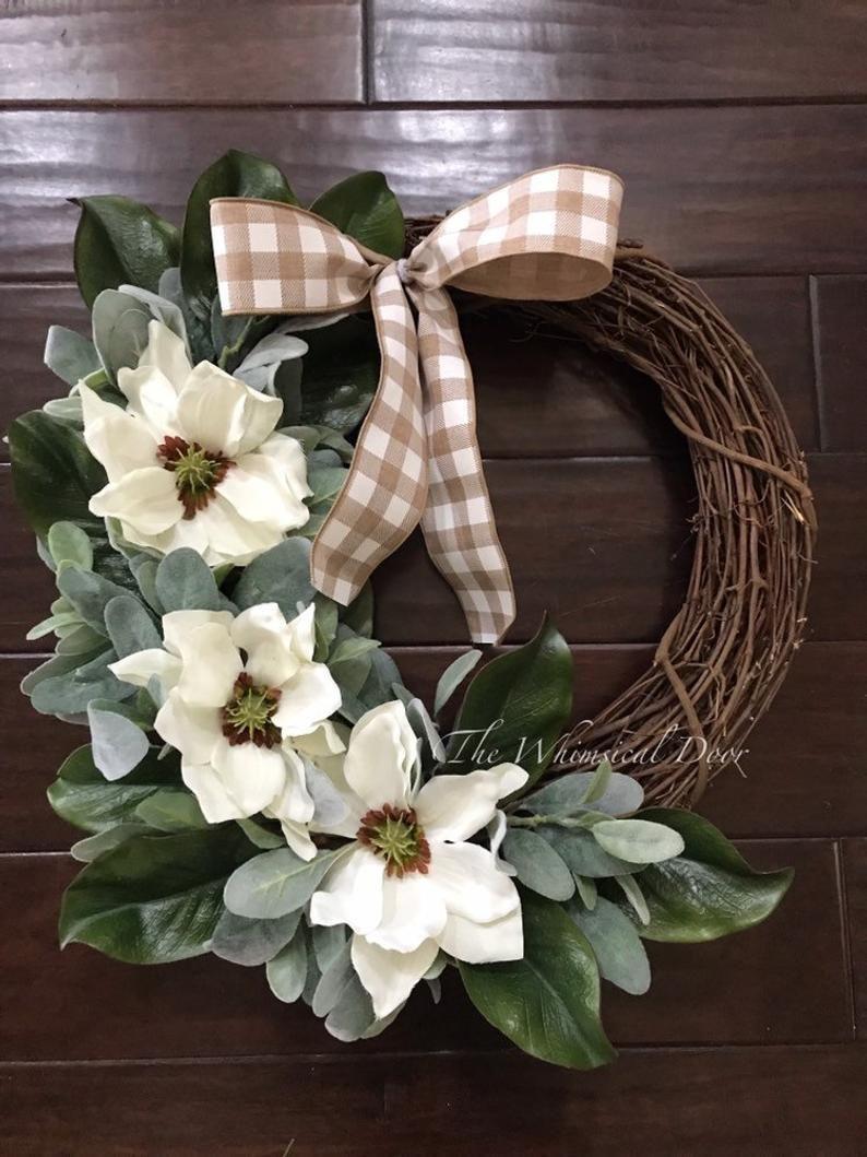 Photo of Farmhouse wreath Magnolia wreath Magnolia lambs Ear wreath Front door wreath Spring wreaths for front door
