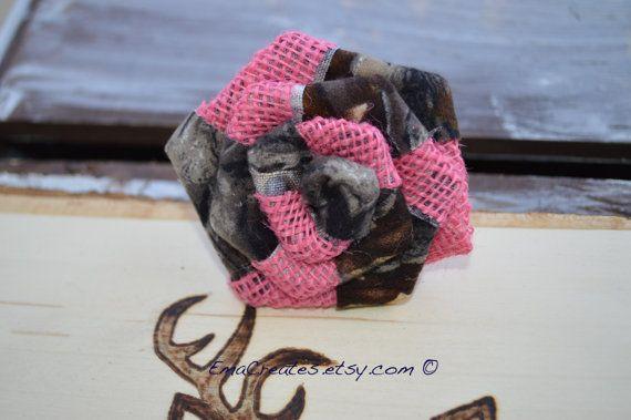 Original Design Camo and Pink Burlap Flower Camo by EmaCreates