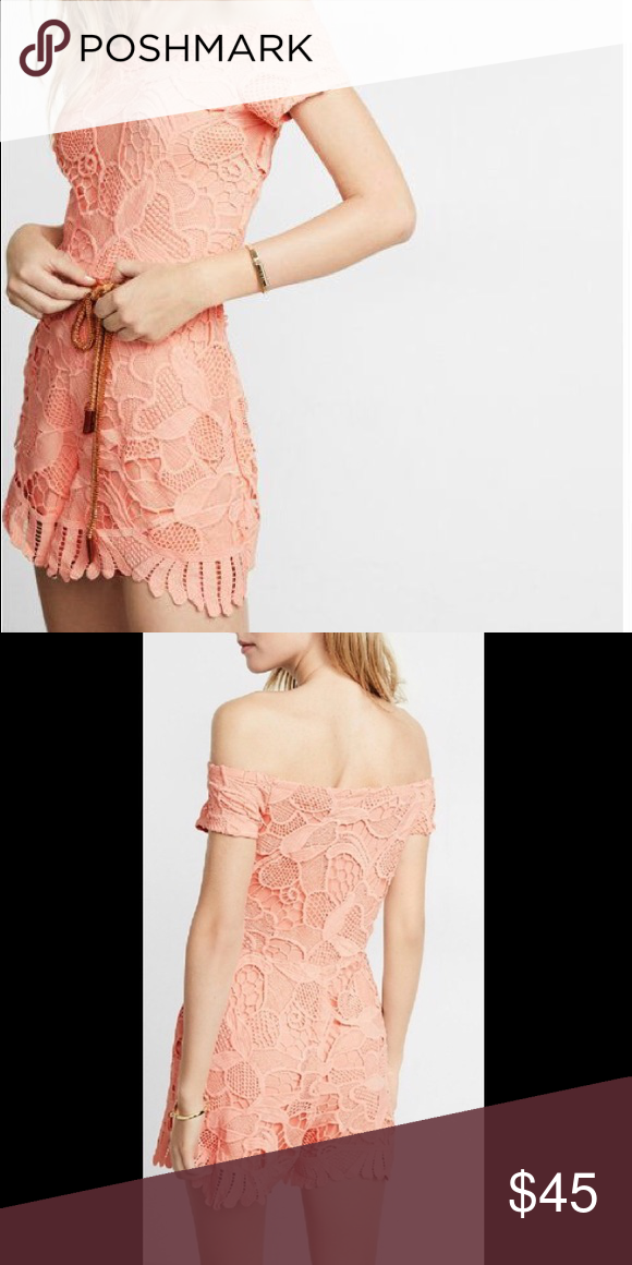 eadef6659367 Express • NWT Off the Shoulder Lace Romper Adorable coral peach lace romper  from express!