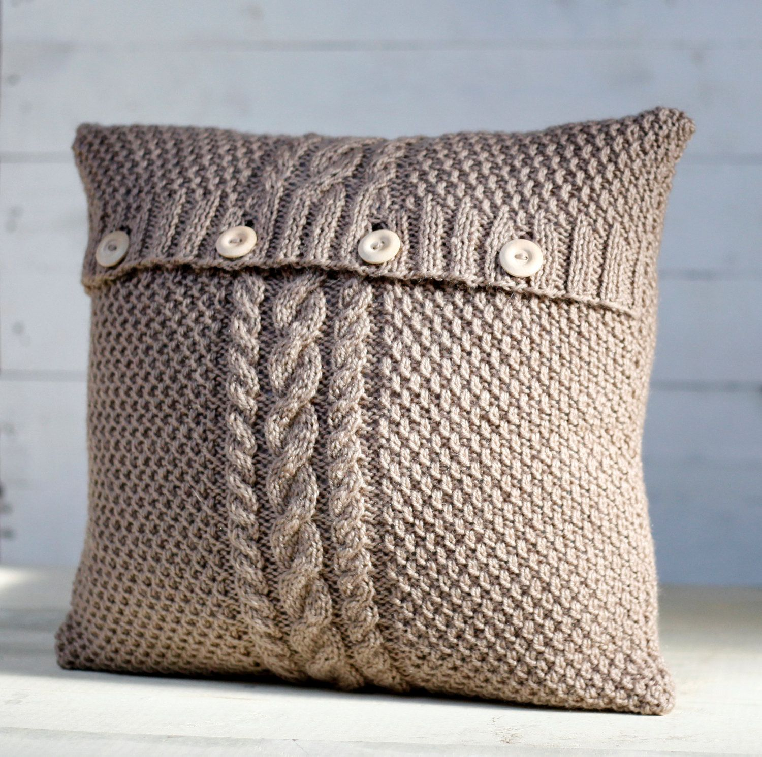 Cable Hand Knitted Beige Pillow Cover Handmade Decorative