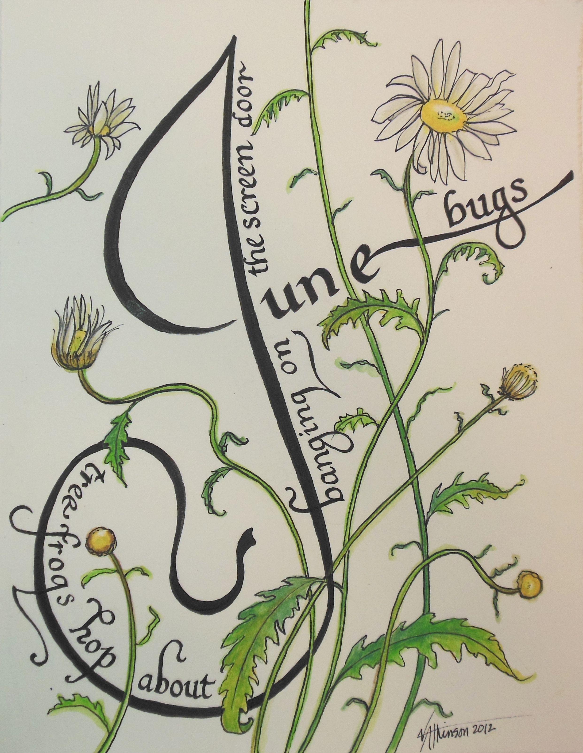 Calligraphy watercolor, June Bugs, 2012, V. Atkinson.