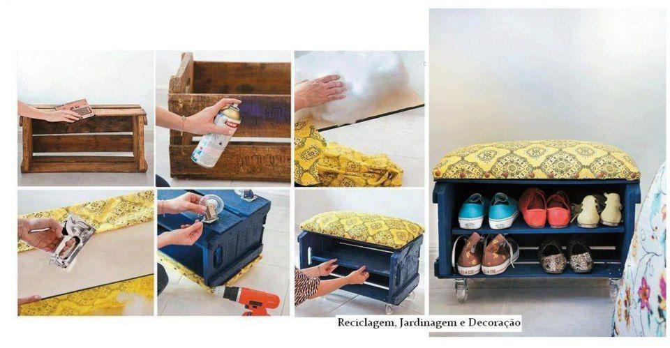 reutilizando caixote como sapateira
