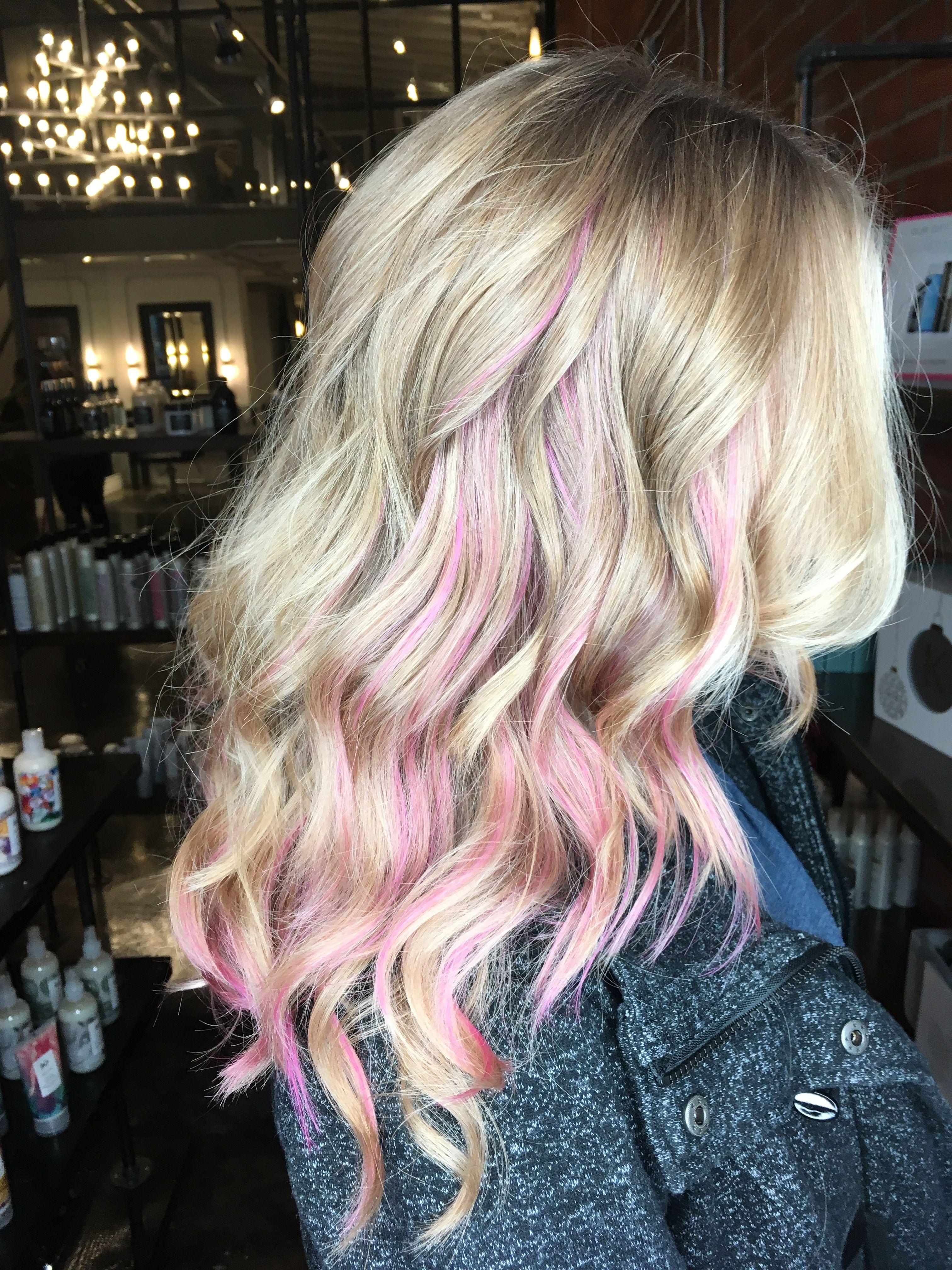 pink peekaboo highlights in natural blonde hair Hair