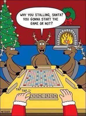 Santa plays Scrabble with his reindeer