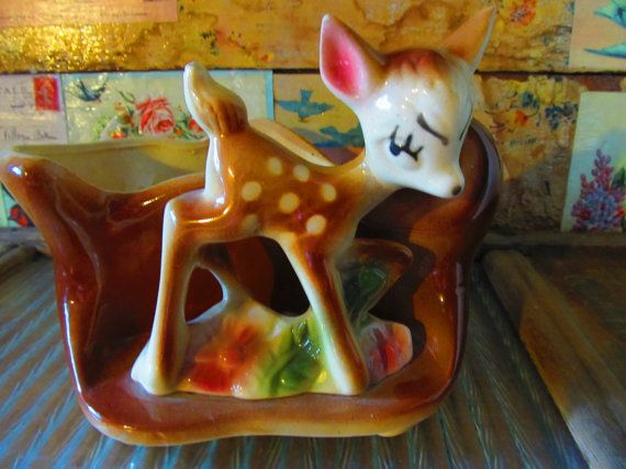 Vintage Shawnee Planter, Fawn Planter, 1950's Deer Planter, Collectible Bambi, Home & Living, Home Decor, Mid-century Home Goods