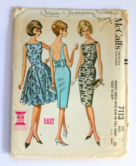 1963 Mccall S Dress Pattern Sz 10 7113 By Sunonthelilies On Etsy
