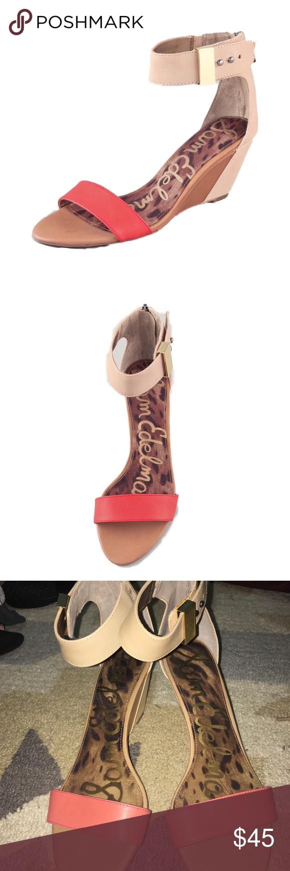 Sam Edelman Sophie Low Wedge Sandals Originally sold at Nordstrom, these leather sandals feature a coral toe strap and a hidden back zip. Button closure at ankle. Covered wedge heel and synthetic sole. Barely worn if at all.   * Heel: 2.5
