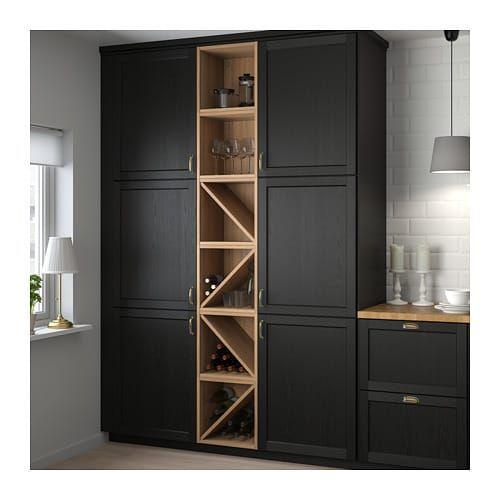 Vadholma Range Bouteilles Brun Frene Teinte Range Bouteille Meuble Rangement Ikea Agencement Cuisine