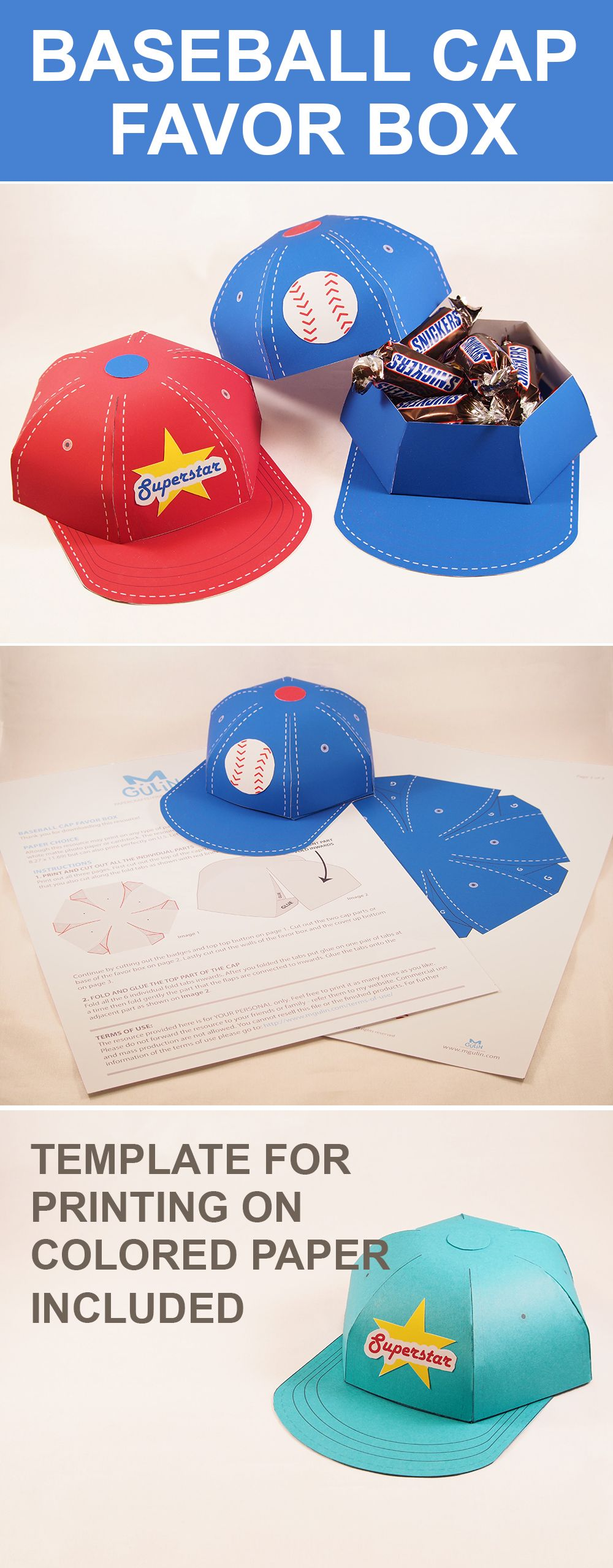 Baseball Cap Favor Box - Great for any fan!   Boxes   Baseball gifts ...