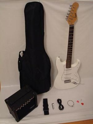 White Electric Guitar Set with Strap, Cord, Gig Bag and 15W AMP - Brand New