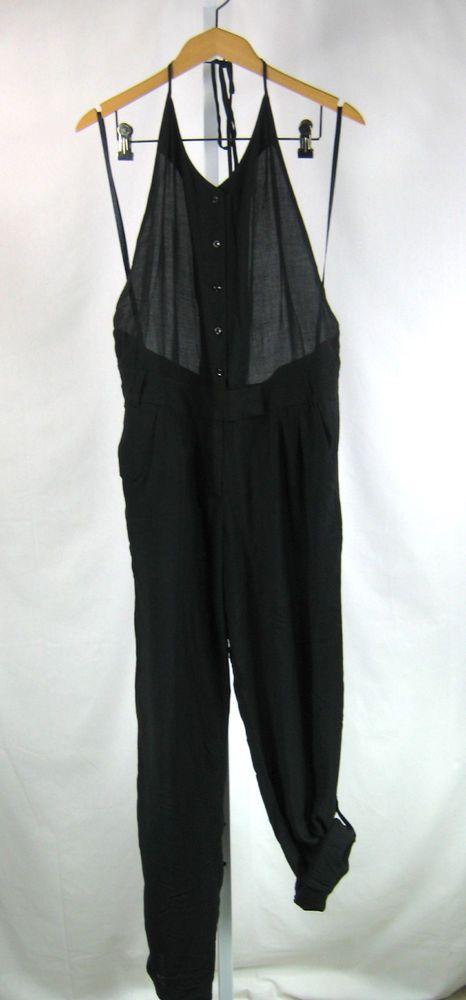 BCBGENERATION NWT Black Halter Button Front Pant Romper Jumpsuit Size 6 #BCBGeneration #Jumpsuit