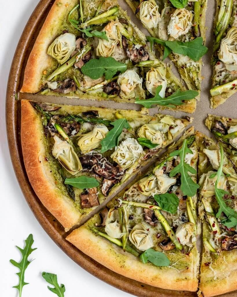 Vegan Pesto Artichoke Pizza