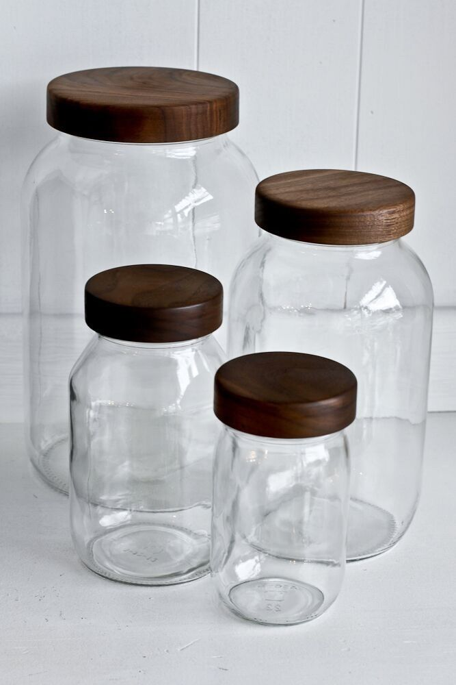 Beautiful Mason Storage Jars With Walnut Wood Tops From Whidbey Island,  WAu0027s Turnco Wood Goods