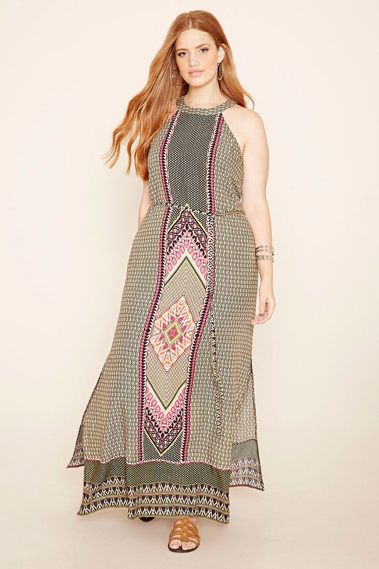 Forever 21+ - A sleeveless woven maxi dress with an allover geo print, a high round neckline, a buttoned keyhole back, high-slit sides, and a super-skinny removable self-tie sash belt.