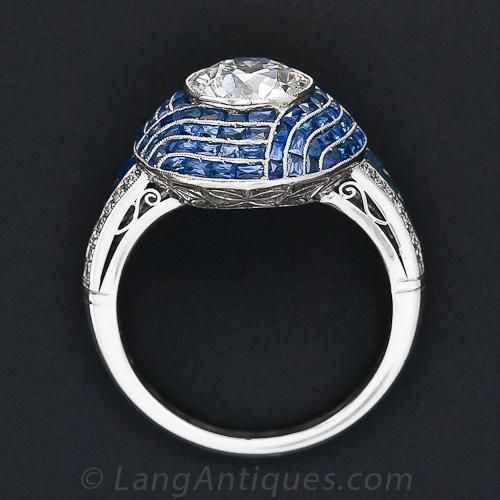 1.99 Carat Diamond and Sapphire Calibre Ring - 10-1-6111 - Lang Antiques