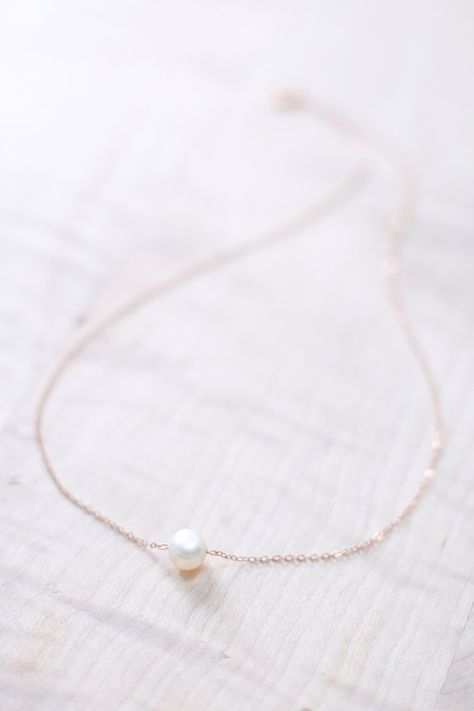 Rose Gold Pearl Necklace Rose Gold Necklace Dainty Single Pearl