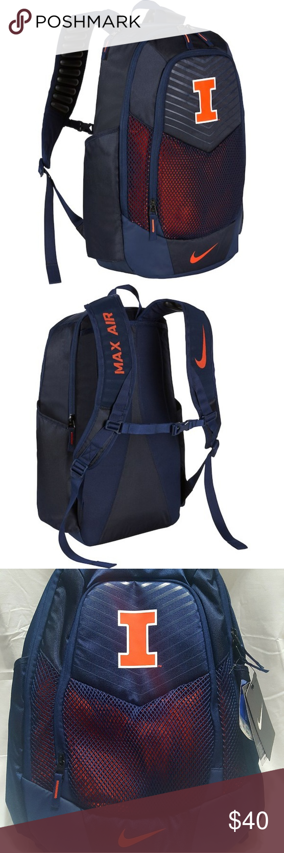 Nike Illinois Fighting Illini Vapor Power Backpack 100% Authentic Nike Haul  loop at top Front 853e7f3221230