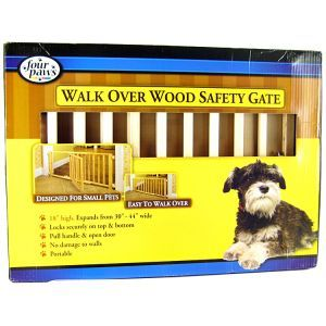 Four Paws Four Paws Walk Over Wood Safety Gate with Door Wood Dog Gates
